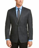 Michael Kors Mens Sport Coat Gray Blue Size 42 Long Plaid Modern Fit $295 131