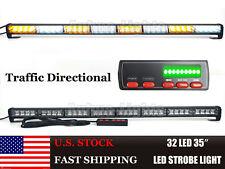 """35"""" 32 LED Traffic Advisor Emergency Warning Truck Strobe Light Bar Amber&White"""