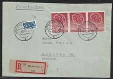 926# Berlin Mi 71 3er Streifen MeF R-Brief Hildesheim n. München portogerecht