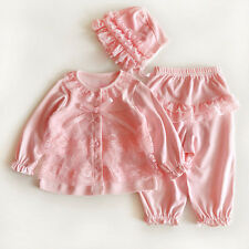 3pcs Newborn Infant Baby Girls Lace Cardigan Tops Pants Hat Princess Clothes Set Khaki(1pc Hat) One Size