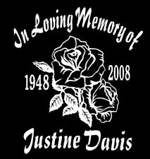 In Loving Memory Of Decal rose roses custom name date vinyl car sticker