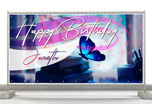 Butterfly Art Craft Custom Happy Birthday Banner Personalized Poster M619