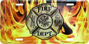 """Fire Fighter Department Flames 6""""x12"""" Aluminum License Plate Tag made usa"""