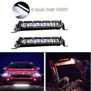 """1 Pair 8"""" 120W Ultra Thin Single Row LED Spot Work Light Bar For Off-Road Truck"""