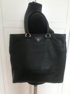 Authentic Prada Vitello Daino black leather tote handbag