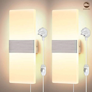 Glighone LED Wall Lights Dimmable Modern Wall Lamp 12W Acrylic Wall Sconce Up in