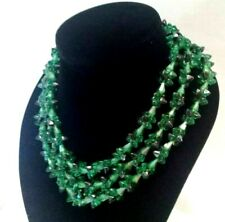Vintage Signed Austria Lucite Bead Necklace Three Strand green & black 18''