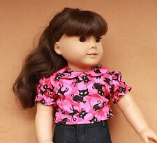 Doll Clothes fitting 18 in & American Girl Dolls Pink Sparkle Cat Blouse