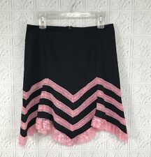 Betsey Johnson Sz 4 Black Flare Skirt Pink Lace Detail Chevron Pattern