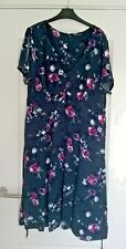 Ladies Fit And Flare Roman Navy Blue Floral Dress Size 20uk Free Post