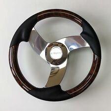 New Gussi Boat Steering Wheel M533  Polished Aluminum Faux Burl Rim
