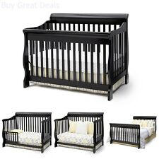 Delta Children Canton Convertible Crib, 4 in 1 Toddler Bed & Baby Crib, Black
