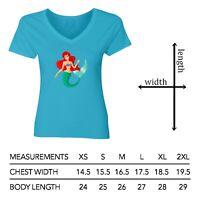 The Little Mermaid Ariel Women Junior Girl V-Neck Short Sleeve Top Tee T-Shirt