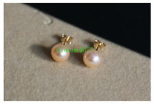 Wholesale  AAA 8-9mm Pink south sea Cultured pearl earrings 14k Gold