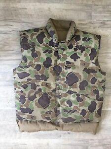 Vintage CABELAS Goose Down Duck Camo to Tan Reversible Hunting Vest Men's XL