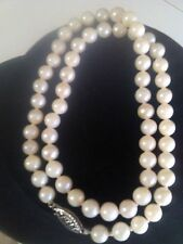 61- 5thru6 mm. Freshwater Cultured White Pearls Necklace w/14K White Gold Clasp.