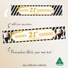 Customised  Gold 21st Happy Birthday Canvas Party Banner Decorations Supplies