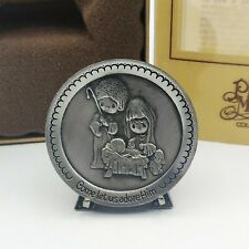 Precious Moments Collectible Pewter Plate w/Easel Nativity Jy 230 Approx 1.75""