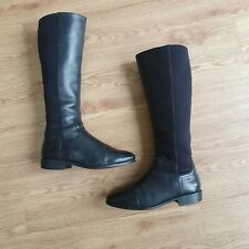 £220 COLE HAAN Black Genuine real Leather Knee High Flat Boots Size 5.5 us 7.5