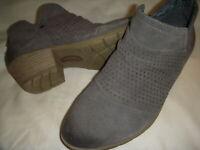 Earth Origins Amanda Suede Leather Booties w/Perf. Ruching Women's 9.5 M Grey