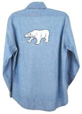 Vintage Levi's Chambray Blue Shirt M Polar Bear Embroidered 70s Men Xmas Winter