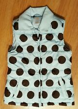 Gymboree Quilted Puffer Vest Cozy Girls Sz M (7/8) Blue Brown Polka Dots*Nice*