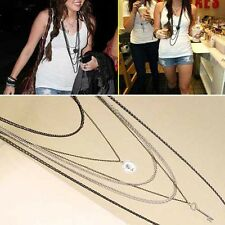 Vintage Coin & Key Multilayer  6-layer  Chain Link Chain Necklace Long Pendant