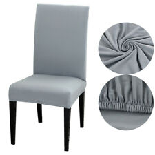 6pcs Gray Dining Chair Covers Removable Slipcovers Elastic Wedding Banquet UK