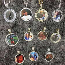 """Hip Hop Gold PT Picture Frame Pendant Iced & 18"""" 20"""" 24"""" Rope Chain Necklace"""