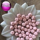 10 Silicone Beads Pastel Pink 17mm Hexagon Food Grade Baby Teeth safe BPA Free