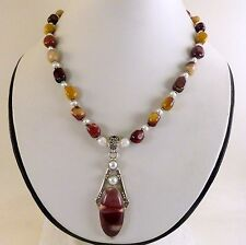 JFTS, Multi-Color, Mookaite, Bead, Pearl, Necklace, Pendant, Tibetan Silver, 18""