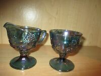 Vintage Carnival Glass Indiana Blue Harvest Grape Footed Sugar Bowl & Creamer