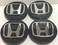 "4 Pcs, Wheel Center Cap, Honda Black Chrome Logo 69 MM / 2.72"" -H2- Accord Civic"