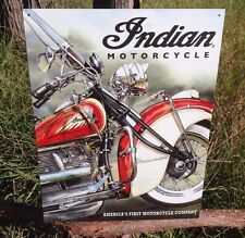 INDIAN MOTORCYCLE America First Vintage Sign Tin Metal Wall Garage Rustic Old