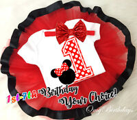 First 1st - 7th Birthday Girl Tutu Outfit Headband Set Red Dots Minnie Mouse