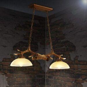 ZMH Pendelleuchte Höhenverstellbarer Geweih Kronleuchter Hirschhorn Vintage Holz