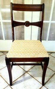 Vintage/ Antique TELL CITY Mahogany Accent or Dining Chair Yellow Fabric
