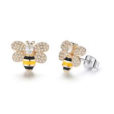 Childrens Baby Girl kids Crystal Cute Bee Silver Stud Earrings 14k Gold Filled