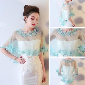 Women Wedding Bridal Lace Shawl Cape Bolero Jacket Tulle Cloak Tole Wrap Shrug