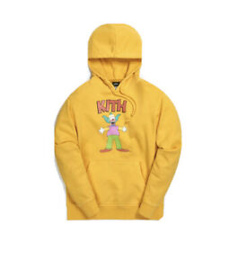 In Hand KITH X THE SIMPSONS KRUSTY HOODIE YELLOW SIZE SMALL New HYPEBEAST