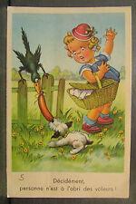 cpa illustrateur fantaisie fillette panier pique nique corbeau chien voleur