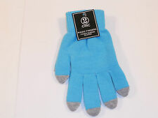 WOMEN'S 2 CHIC TURQUOISE GREY MAGIC FINGERS TOUCH SCREEN GLOVES NEW