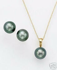 Nobby 10*14 MM blue black southsea shell pearl earring necklace