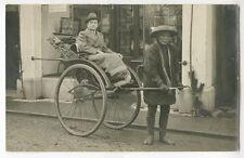 2 RPPCs Man Woman Rickshaws China 1920o Studi  Photographs