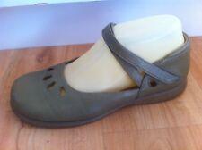 Ladies Khaki Leather HOMY PED Flats AUS Size 6.5 EU 37.5 Mary Janes Comfort
