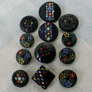 Assortment of 12 Antique Shanked Black Glass Buttons w Enamel