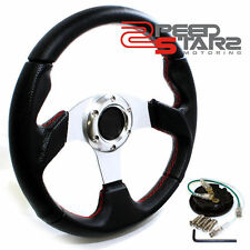 """12.5"""" 320MM BLACK/SILVER 6-HOLE RACING STEERING WHEEL PVC LEATHER+HORN BUTTON"""
