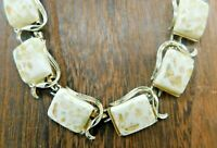 """Vintage Lucite Confetti White Yellow Square Bead Gold Tone Link 16"""" Necklace"""