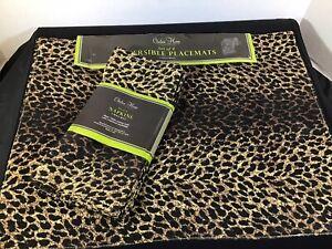 Raymond Waites Leopard Print 18 x 14 Reversible Place Mats and Matching Napkins