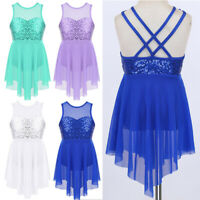 Kids Lyrical Ballet Dance Dress Girls Sequins Double Strap Leotard Gym Dancewear